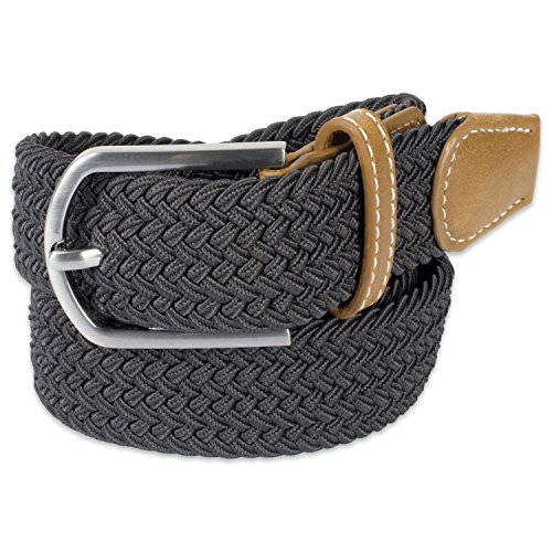 Stretch Braid (E-Living Store Men's 32mm Woven Expandable Braided Stretch Belts, (Available in Multiple Colors & Sizes), Dark Grey, X-Large (Waist Size 42-44