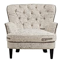 Pulaski Button Tufted Upholstered Accent Chair in Paris Script with Antique Nailhead, Medium, White