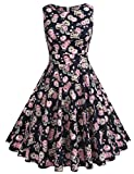 ARANEE Vintage Classy Floral Sleeveless Party Picnic Party Cocktail Dress (XXL, Navy Blue)