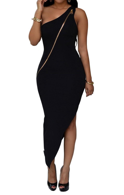 Women Sexy One Shoulder Front Zipper Side Split Slim Clubwear Bodycon Midi Dress