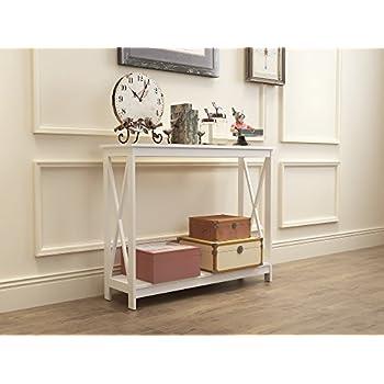 White Finish 3-Tier X-Design Occasional Console Sofa Table Bookshelf