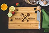 "Twin Keys With Heart, Romantic Couples Laser Engraved Cutting Board 15"" x 10"", Church Castle Keys, Just Married Gifts for Her Bridal"