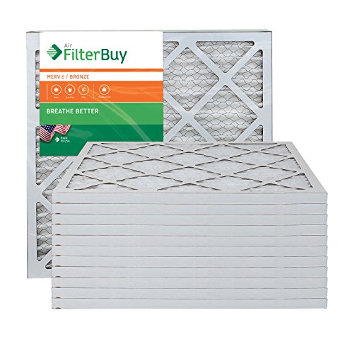 AFB Bronze MERV 6 21x22x1 Pleated AC Furnace Air Filter. Pack of 12 Filters. 100% produced in the USA. by FilterBuy