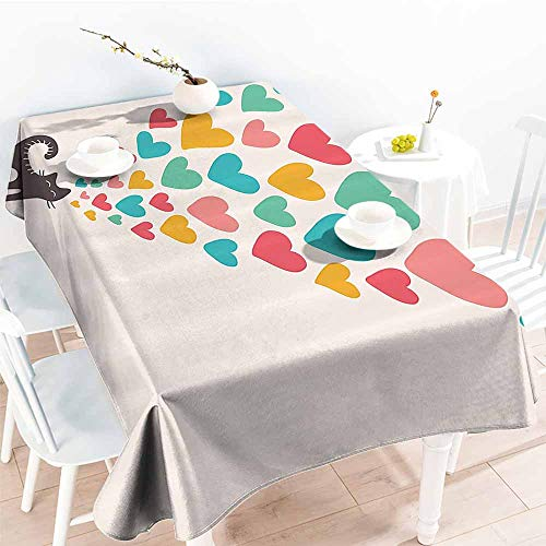 Homrkey Waterproof Tablecloth Cat Lover Decor Collection Cute Cat in Love with Colorful Different Sizes of Hearts Happy Sweet Clipart Teal Mustard Red Washable Tablecloth W52 -