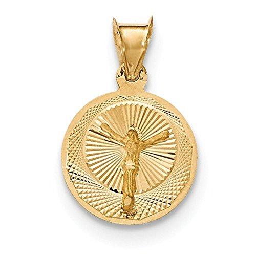 Corpus Crucified Christ Pendant - CKL International 14k Yellow Gold Corpus Crucified Christ Round Small Pendant Charm