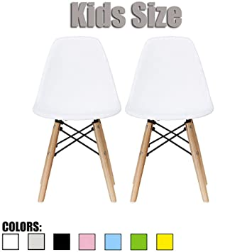 Amazon.com   2xhome Set Of Two (2)   White   Eames Chair For Kids Size  Eames Chair Size Side Chairs Eames Chairs White Seat Natural Wood Wooden  Legs Eiffel ...