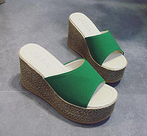 Schuhe Hausschuhe Ferse Casual Boden Dick wasserdichte Fashion Wedge Sommer Plattform Strand green LvYuan Sandalen Komfort Flatforms Damen SF0WqHEEwZ