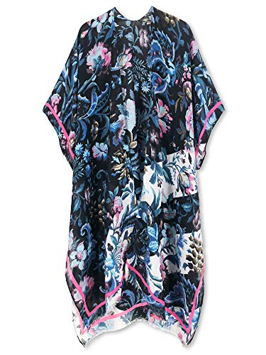 Moss Rose Women's Beach Cover up Swimsuit Kimono Cardigan with Bohemian Floral Print (Jungle Safari)