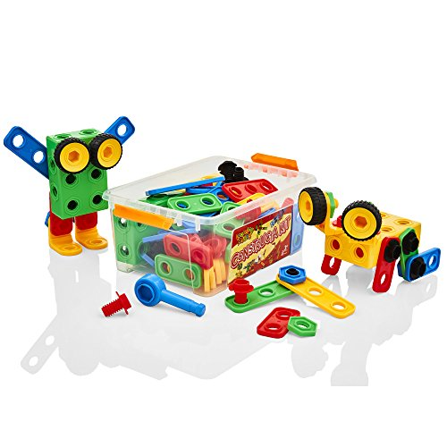 Learning Minds Constructa Kit Tub – 85 Piece Childrens Construction Set – Building Toy For Kids Aged 3 Years +