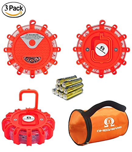 LED Road Flares OMEGAWARE | Emergency Roadside Safety Disc Marine Flashing Light Beacon for Car Truck Boat with Storage Bag and Batteries | RED (Pack of 3) by OMEGAWARE