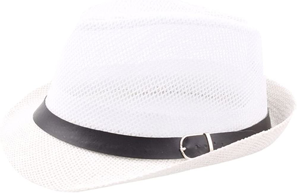 Cuekondy Women Men Vintage Hollow Out Fedora Beach Sun Hat Trilby Gangster Cap Roll up Sun Protection Hat