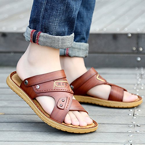 ZHNAGJIA Sommer Strand Schuhe, Sandalen Für Männer, Neue Casual Weichen Boden Sandalen, Outdoor Rutschfeste Hausschuhe, 38, 51 Braun