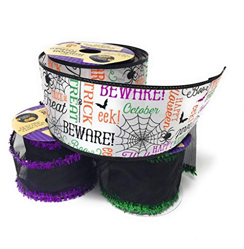 Halloween Purple and Black Themed Ribbon with Wired Edges Assortment of 3 Spooky Rolls