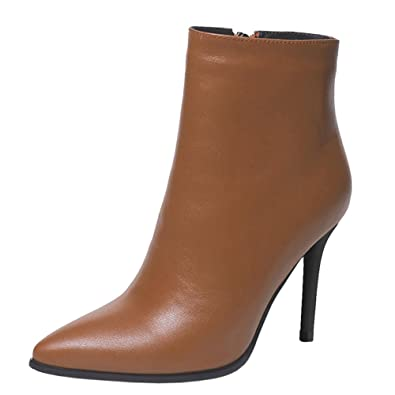 Damen Stiefel,MERUMOTE Leder Thin Heels Schuhe Spite for 2017 Winter Daily Wear Braun 38.5 EU MERUMOTE