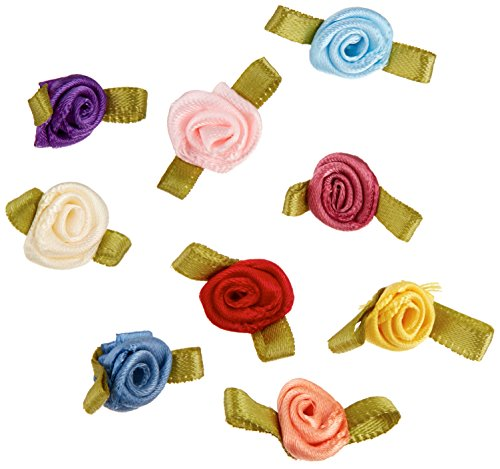 Offray Ribbon Roses-Small 40/Pkg-Multi Colors