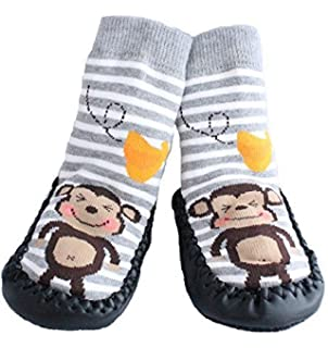 Baby Boys Girls Moccasins NON-SKID Indoor Shoes Socks STRIPED GREY MONKEY  (1.5- f690208b70ff