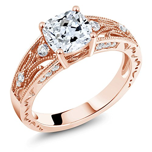 925 Rose Gold Plated Silver Women's Ring, 1.40 Cttw, 6MM Cushion Cut Made With Swarovski Zirconia (Size 6)