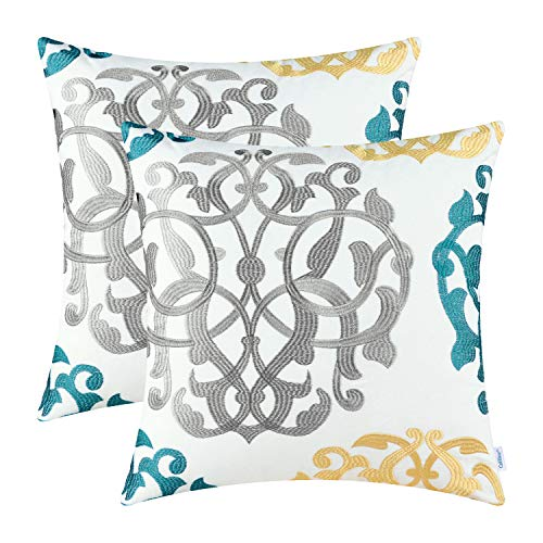 CaliTime Pack of 2 Cotton Throw Pillow Cases Covers for Bed Couch Sofa Vintage Compass Geometric Floral Embroidered 18 X 18 Inches Medium Grey/Teal/Gold (Decorative Blue Aqua Pillows)
