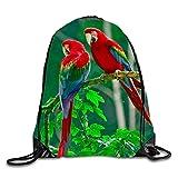 Most Beautiful Parrots Drawstring Shoulder Backpack Sackpack For Shopping Sport Travel