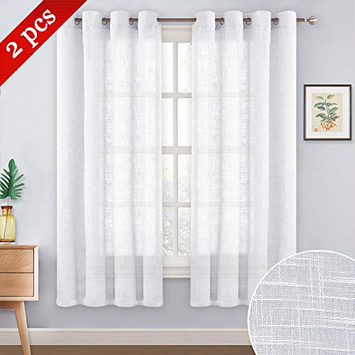 NICETOWN Sheer Curtains for Small Window - Thick Linen Look Window Covering Semi-Voile Drapes for Laundry with Grommet Top (White, 52 inches Width, 45 inches Length, 1 Pair (Length Curtains 45)