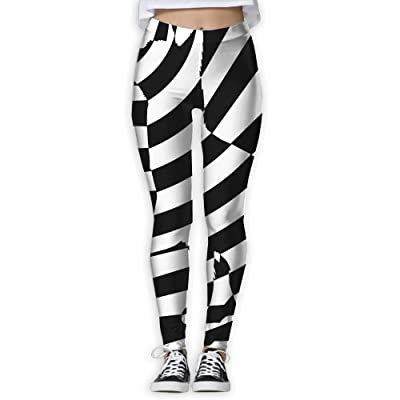A Black-and-White Striped Cat Women's Fitness Power Flex Digital Printed Yoga Pants