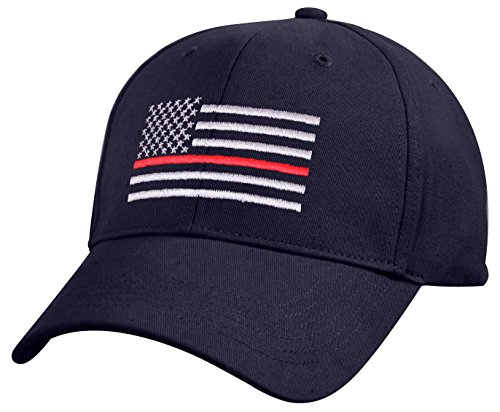 (Rothco Thin Red Line Flag Low Profile Cap, Navy Blue)