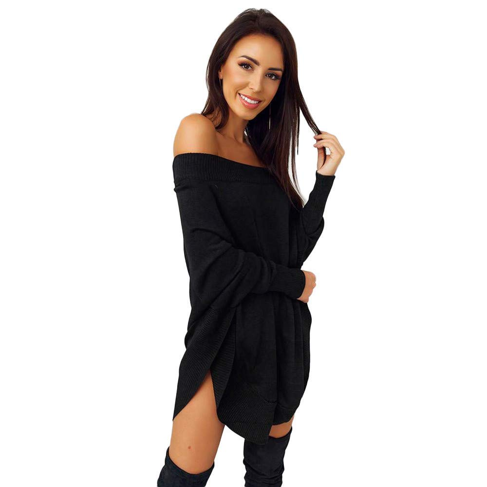 Londony▼ Clearance Sale, Women\'s Solid Off Shoulder Long Sleeve Sweater T Shirt High-Low Hem Tunic Dress Women' s Solid Off Shoulder Long Sleeve Sweater T Shirt High-Low Hem Tunic Dress Londony007