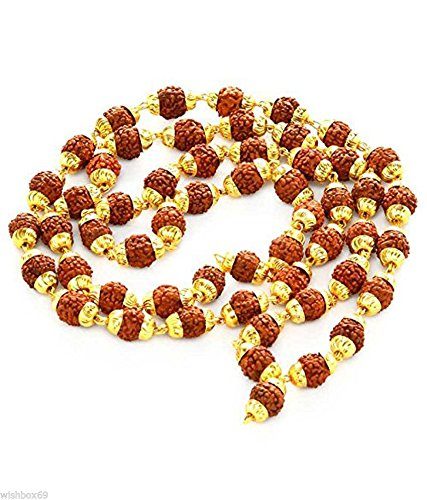 Siddhratan Rudraksh 5 Cara Japa Mala Rosary Golden ...