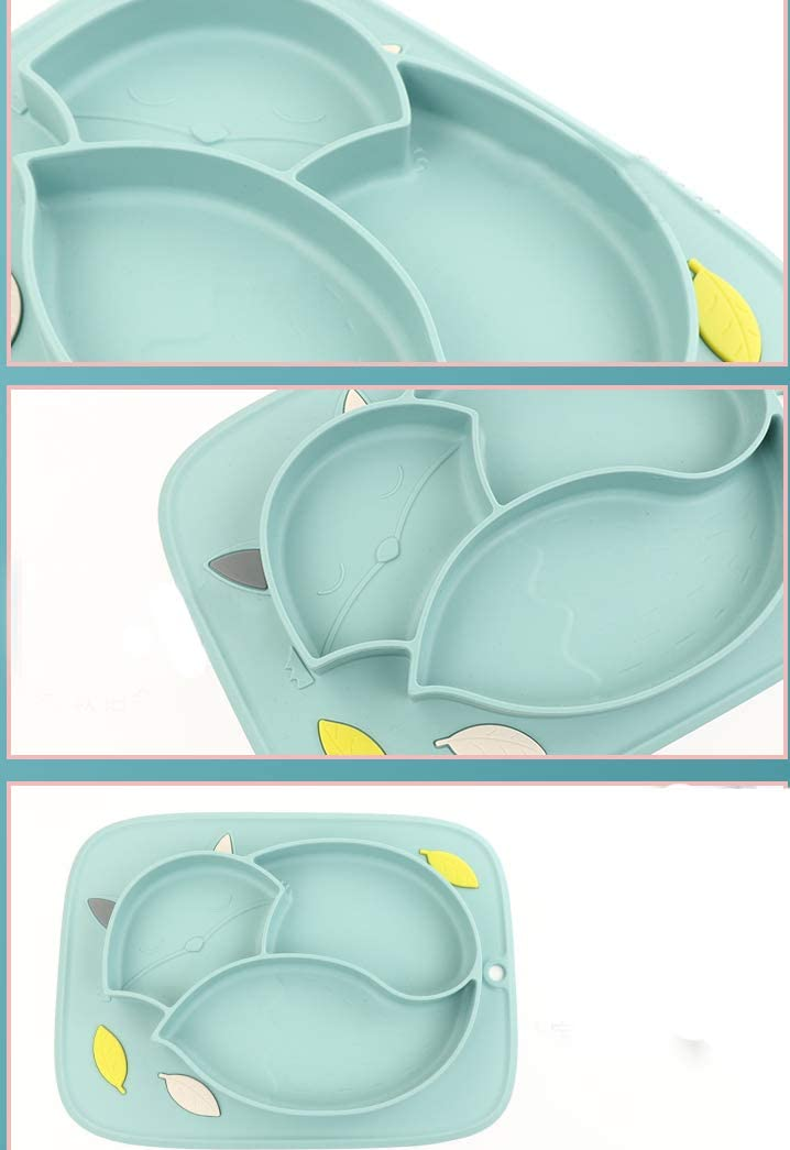 Doladola Dessin anim/é Fox Assiettes /à ventouse en silicone pour tout-petits
