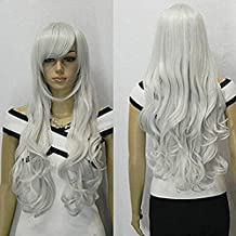 33 inch Silver White Heat Resistant Curly Wavy Long Cosplay Wigs