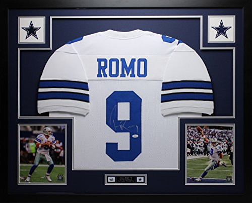 Tony Romo Autographed and Framed White Cowboys Jersey Auto JSA Certified (Free Shipping!!!) - Tony Romo Back Jersey
