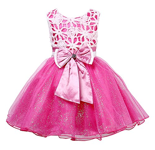 Summer Kids Baby Girls Sundress Princess Party Dance Tutu Dress (3 (3-4Years), rose-red)]()
