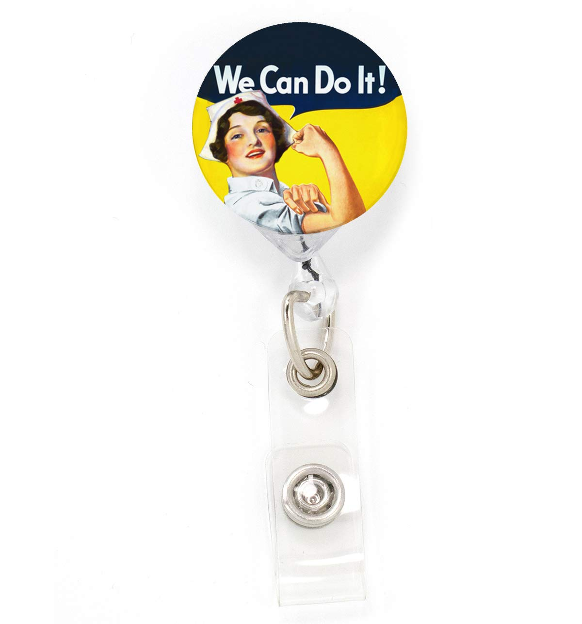 Buttonsmith Nurse Rosie Tinker Reel Retractable Badge Reel - with Belt Clip and Extra-Long 36 inch Standard Duty Cord…
