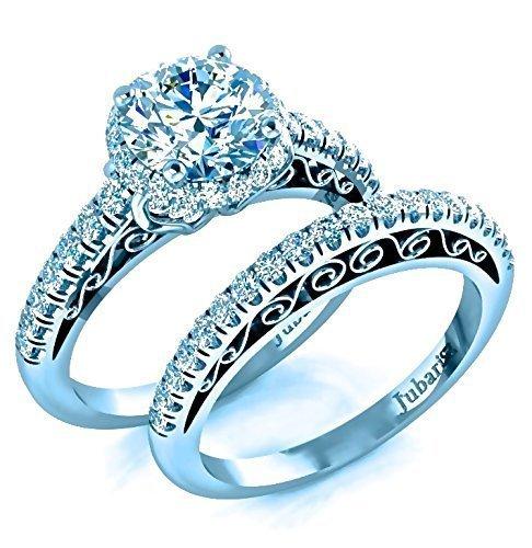 135578f969a6f Amazon.com: 2.00Ctw Round Halo Bridal Diamond Engagement Ring and ...