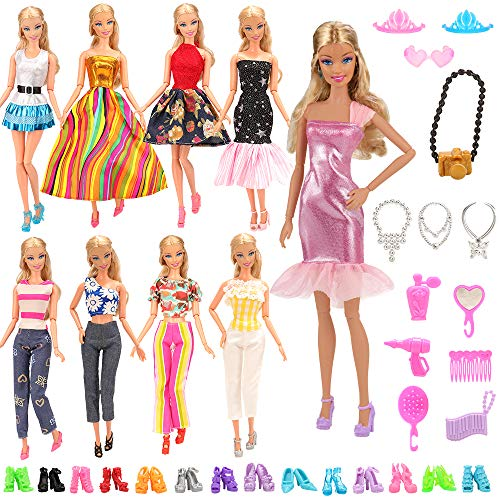 BARWA Lot 15 Items 5 Sets Fashion Dresses Casual Wear Clothes with 10 Pair Shoes, 13 Accessories for 11.5 Inch Girl Doll Birthday Xmas Gift (For Girls Clothes Big Barbie)