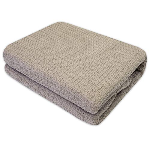 (Sweet Home Collection 100% Cotton Blanket All Season Comfort Knit Woven Bedspread Bedding, Twin, Taupe )