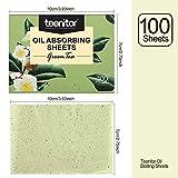 Teenitor Oil BlottingSheets, 100 Sheets Green Tea Oil Absorbing Tissues Paper, Large 10cmx7cm Oil Blotters