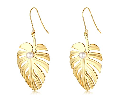 9a6a93a92 Image Unavailable. Image not available for. Color: Gold Plated Stainless  Steel Leaf Hoop Earrings for Women Ladies Graceful Gift for Mom Girlfriend