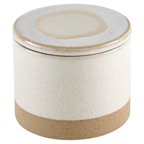 Cheap Stone & Beam Organic-Shape Stoneware Round Box, 4.75″H, Sand