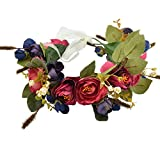 Vivivalue BOHO Handmade Rose Flower Wreath Headband Halo Floral Crown Garland Headpiece with Ribbon Wedding Festival Party Blue