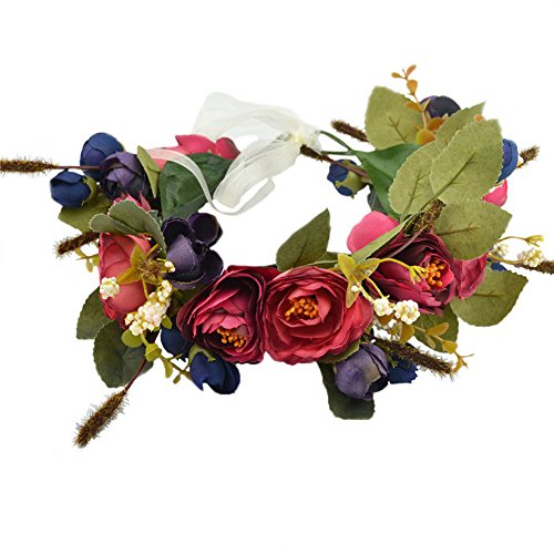 Vivivalue Floral Crown Rose Flower Headband Hair Wreath Floral Headpiece Halo Boho with Ribbon Wedding Party Festival Photos Blue]()