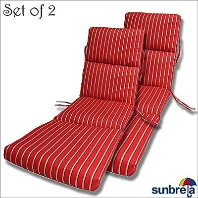 Comfort Classics Inc. Set of 2-22x74x5 Sunbrella Indoor/Outdoor Fabrics CHANNELED Chaise Cushion