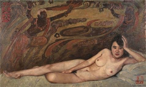Oil Painting 'Qin Dahu, Nude Woman, 20th Century', 20 x 33 inch / 51 x 85 cm , on High Definition HD canvas prints is for Gifts And Bed Room, - Nude Spy Men