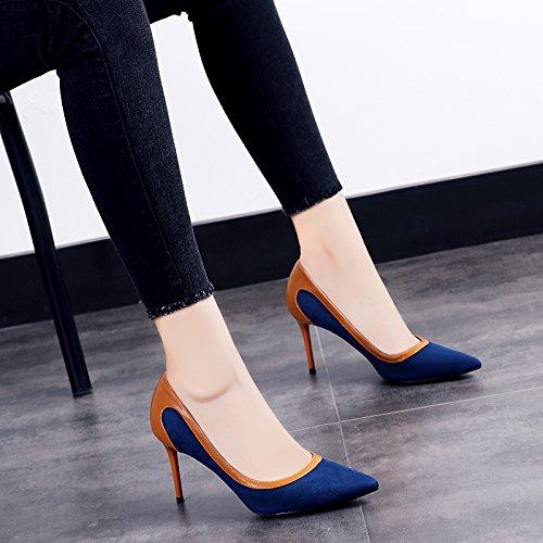 The fine du Fall Femme Chaussures la Femme Chaussures l'Escarpin 8cm avec couture Automne Unique et Pointe Chaussures blue été GAOLIM qCwz0Tt