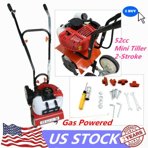 CNCEST DY19BRIGHT 52cc 2 Strok 1.45kw Mini Tiller Garden Yard Soil Gas Powered Cultivator Rotary Hoe Tine Tiller Pro Machine for Soil Loosening Equipment 1E44F Air-Cooled US Stock