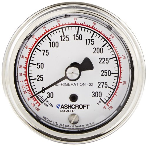 ASHCROFT Duralife Type 1009 Stainless Steel Case Dry Filled Pressure Gauge, Stainless Steel Tube and Bronze Socket, R-22 Refrigerant, 2.5