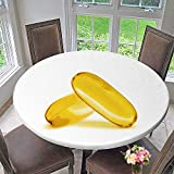 PINAFORE HOME Round Fitted Tablecloth Fish Oil Supplement Capsule Isolated on White Background