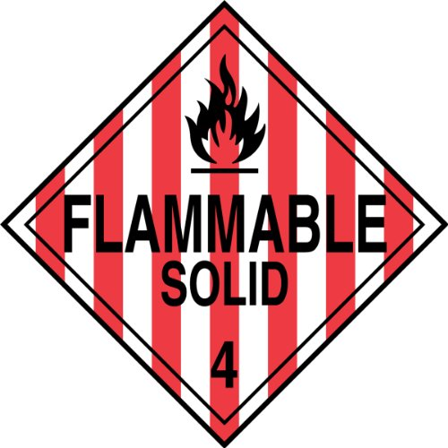 Accuform MPL401CT50 PF-Cardstock Hazard Class 4 DOT Placard, Legend''FLAMMABLE SOLID 4'' with Graphic, 10-3/4'' Width x 10-3/4'' Length, Black on Red/White Stripe (Pack of 50) by Accuform