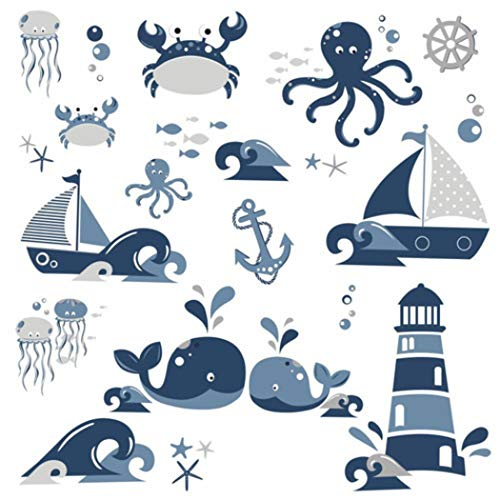Bath Lighthouses (MN 22 Piece Kids Blue White Sea Creatures Wall Decals Set, Nautical Themed Wall Stickers Peel Stick, Fun Animals Navy Fish Ocean Sea Whales Anchor Lighthouse Crab Decorative Graphic Mural Art, Vinyl)