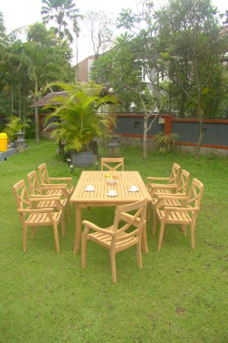 9 Pc Grade-A Teak Wood Dining Set – 117″ Rectangle Table And 8 Granada Stacking Arm Chairs #WFDSGR3 For Sale